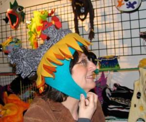 Lynn in chicken hat