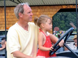 child steering tractor