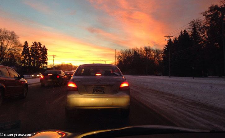 sunrise in traffic