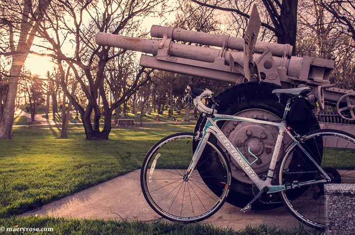 bicycle next to cannon