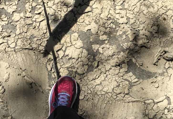 dried mud from Mississippi flooding