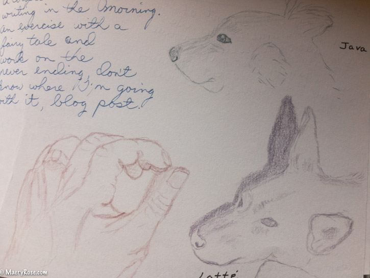 dog and hand sketches