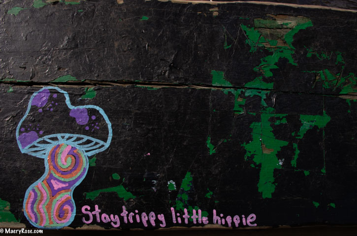 graffiti call to action - stay trippy little hippie